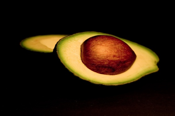 avocado on black