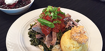 Tomato Jam on Pork & Grits