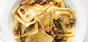 Pumpkin and 3-Cheese Ravioli with Sage Walnut Butter Sauce