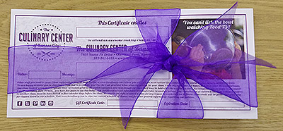 Culinary Center gift certificate